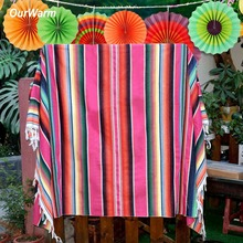 OurWarm Fiesta Themed Party Mexican Blanket DIY Decoration Partycity Baby Shower Birthday Serape Tablecloth 150cm*215cm
