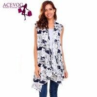 ACEVOG Women Long Cardigan Sleeveless Asymmetric Print Drape Open Spring Autumn Loose Knee Length Ladies Cardigans