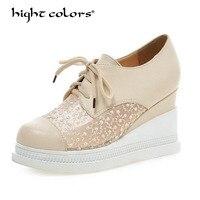 Модная обувь на шнуровке в римском стиле обувь Для женщин танкетке белый черный, розовый синий Лодочки на платформе на высоком каблуке круж...