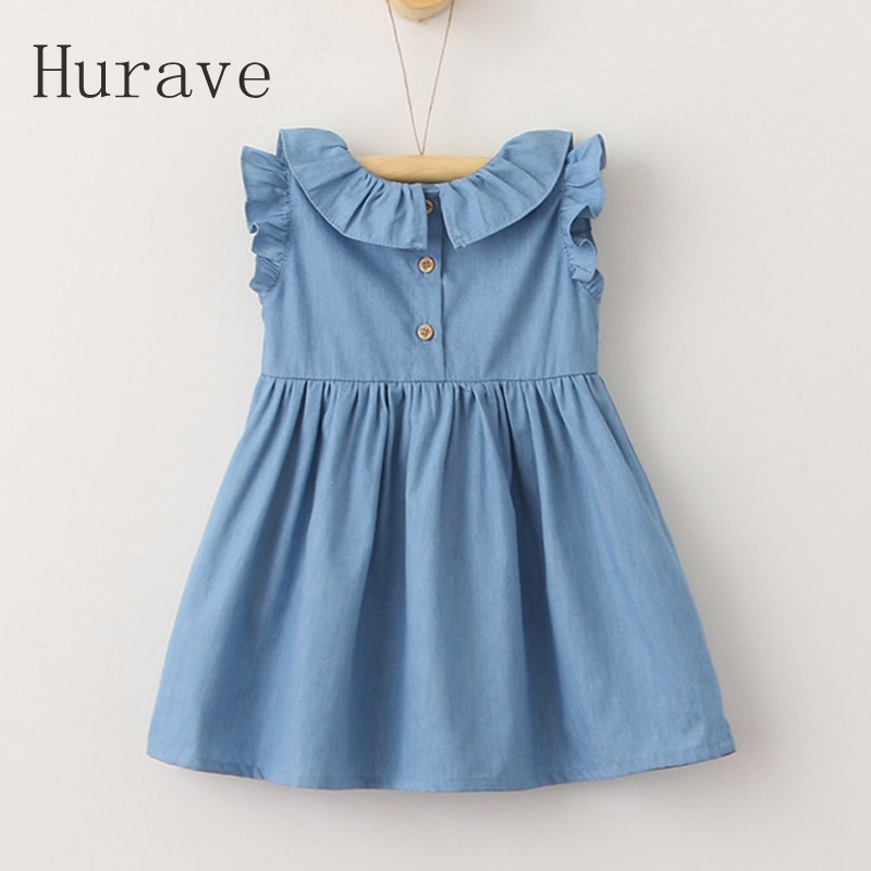 Hurave 2017 Kids dress embroidery button vestidos with bow o neck girls dress girl summer clothing