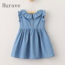 Hurave 2017 Enfants robe broderie bouton robes avec bow o cou filles robe fille vêtements d'été