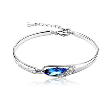 Austrian crystal jewelry Fashion Bracelet Bangle on silver Plated AAA Austrian Crystal Bracelet for Women free shipping