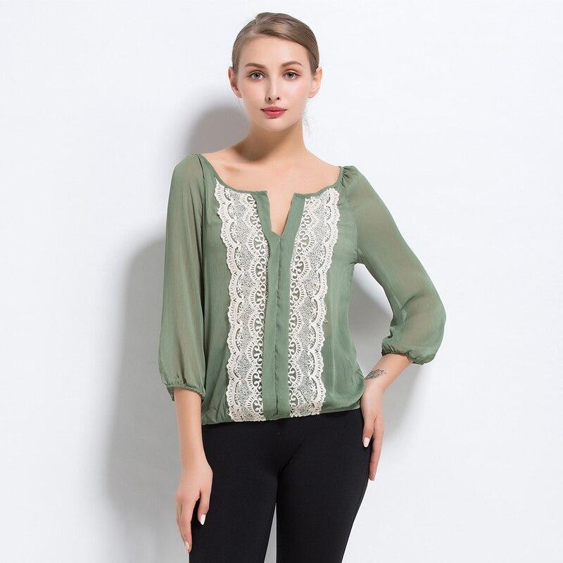 47d5b26fe النظام الأصلي جميلة سيدة مثير المرأة الصيف أعلى ارتداء ضوء رقيقة شفافة  الرقبة ثلاثة أرباع الشيفون قميص زائد الحجم
