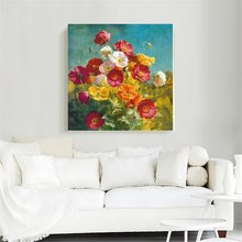 Vintage Home Decorations Colorful Flowers Poster Oil Painting Print on Canvas Flower Wall Art Picture for Living Room Decor