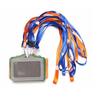 5) 10Pcs PU Leather Pocket ID Card Pass Badge Holders Case With Neck Strap Lanyard, Horizontal