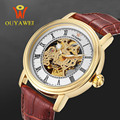 Automatic Mechanical Watch Skeleton Watches Men Luxury Brand OUYAWEI Wristwatches Genuine Leather Wrist Watch Men's Male Clock