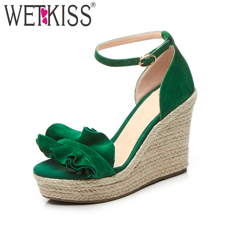 WETKISS Summer High Heels Women Sandals Ruffles Wedges Sandals Open Toe Straw Weave Platform Footwear Sweet Fashion Female Shoes lenkisen genuine leather big size wedges summer shoes gladiator super high heels straw platform sweet style women sandals l45