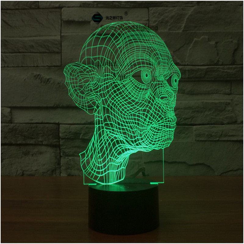 Gollum The Lord of the Rings switch LED 3D lamp ,Visual Illusion 7color changing 5V USB for laptop, desk decoration toy lamp