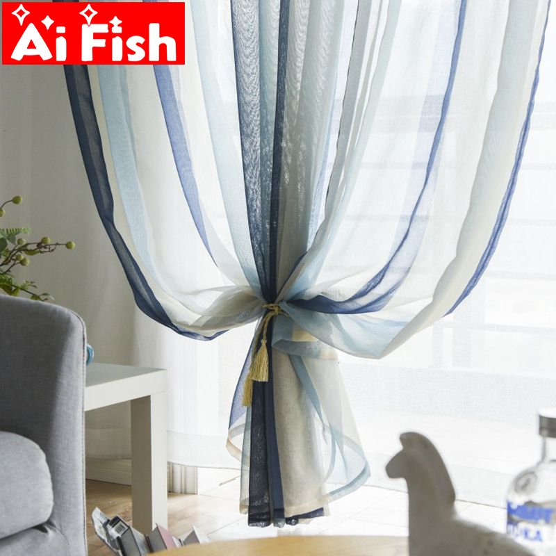 US $5.05 42% OFF|Nordic Minimalist Striped Screens Window Kitchen Tulle  Modern Living Room Curtains Tulle Sheer Fabrics Rideaux Cortinas wp156  40-in ...