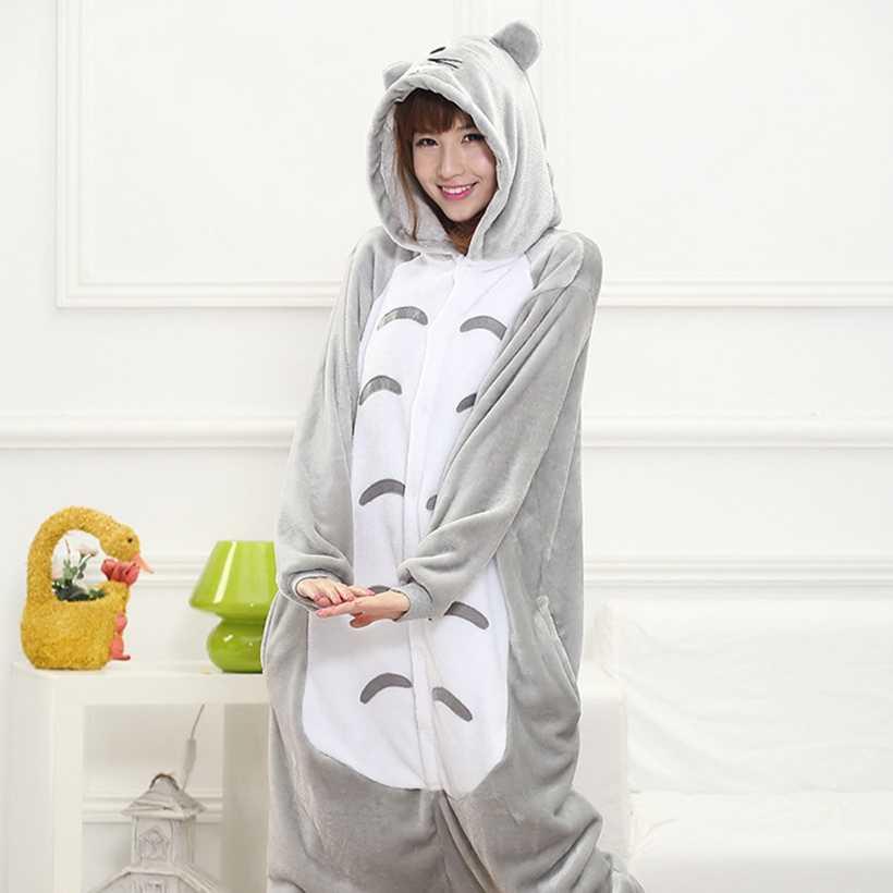 สัตว์ Kigurumi Totoro เครื่องแต่งกายผู้ใหญ่เด็ก Onesie Flannel ฮาโลวีนผู้หญิงอะนิเมะ Jumpsuit ปลอมตัว Onepiece ชุดว่ายน้ำ