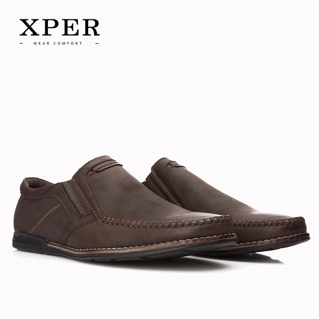 2016 XPER Mens Loafers Flats Moccasins Men Shoes Slip-on Breathable Charm Casual Round Toe Brown YM86837BN