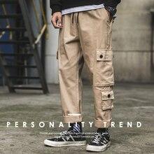 BINHIIRO, осень, новинка, мужские брюки-карго, повседневные, полиэстер, хлопок, на шнурке, мужские, длинные, с карманами, черные, зеленые, хаки, мужские брюки