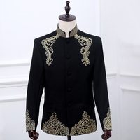 Free Shipping Mens Embroidery Golden Stand Collar Black Royal Blue Red Whittuxedo Jacket Stage Performance Jaceket