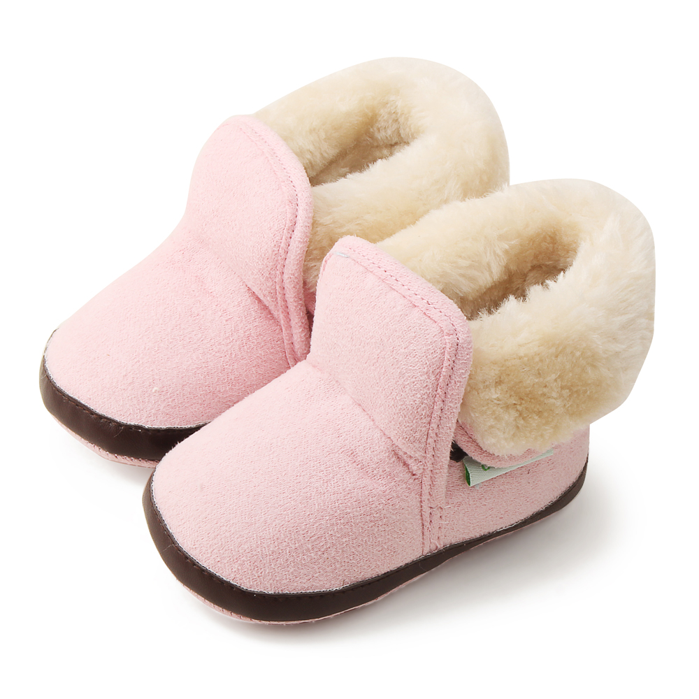 3 Color Winter Warm Baby Boy Girl Boots Solid Moccasins Non-slip Crib Shoes Newborn Baby Shoes Prewalkers