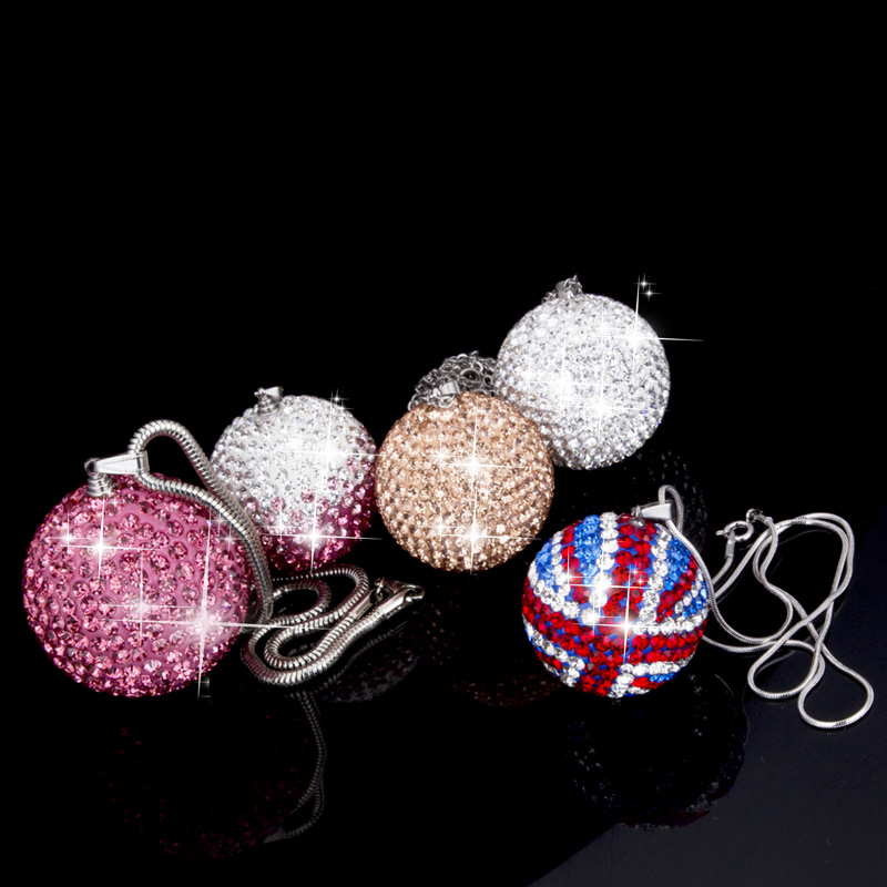 Fashion Car Rear View <font><b>Mirror</b></font> Pendant Crystal Hinging Ornament Bling Bling Ball Car Interior Decoration Accessories