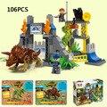 Hot película dragón Parque Jurásico Dinosaurio Mundo Triángulo base compatibles con Duplo ladrillos del bloque hueco juguetes educativos para niño