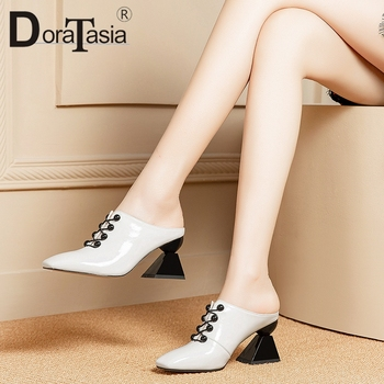 DORATASIA 2019 Fashion Hot Sale Square Elegant Pumps Woman Shoes Strange Style Slip On Summer Mule Shoes Woman Pumps Female