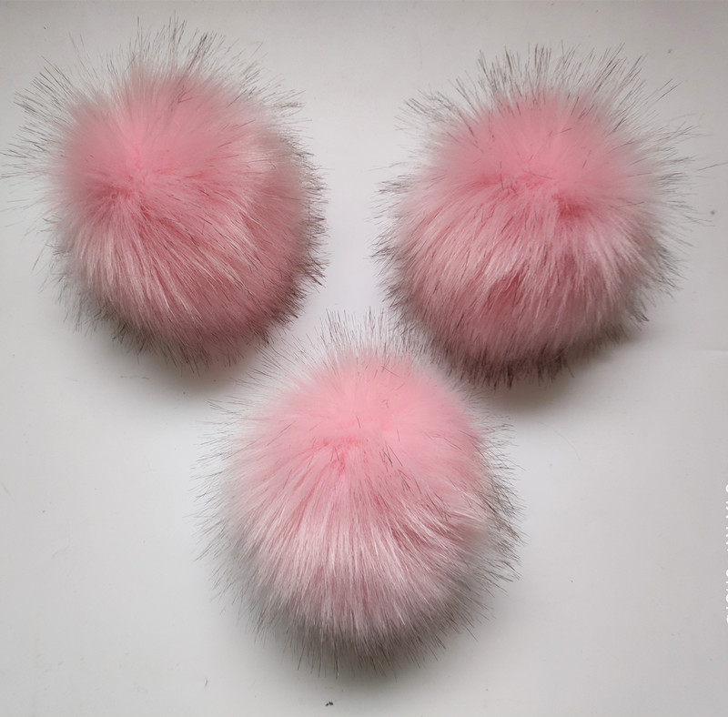 Hot Fluffy 10-12cm Pink Polyester Fur pom poms For Knitted Hats   Skullies   Artificial Fur Ball Pompoms Clothes Accessories