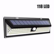 Светодио дный 118 LED 1000LM водостойкий PIR датчик движения Солнечный сад свет светодио дный открытый светодиодный солнечный светильник 3 режима безопасности бассейн дверь солнечное освещение