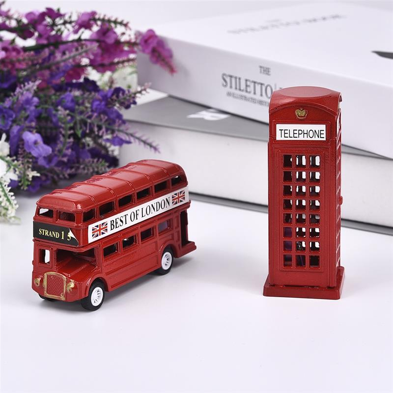Creative London Bus Telephone Booth Model Pencil Sharpener Stationery Iron Ornaments For Kids Souvenir Gift Decoration
