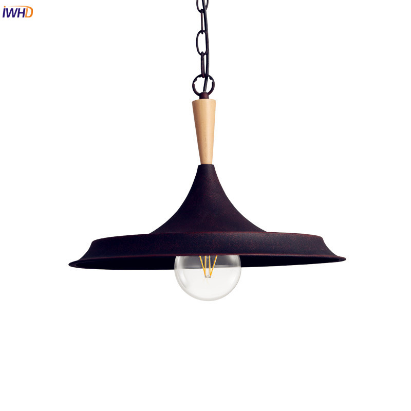 IWHD Loft Style Industrial Pendant Lighting Fixtures Iron Wrount Restaruant Dinning Living Room LED Edison Vintage Lamp Wooden iwhd american retro vintage pendant lights fixtures edison loft industrial pendant lighting hanglamp lampen wrount iron