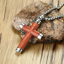 High Quality Rosewood Cross Pendant Necklace for Men