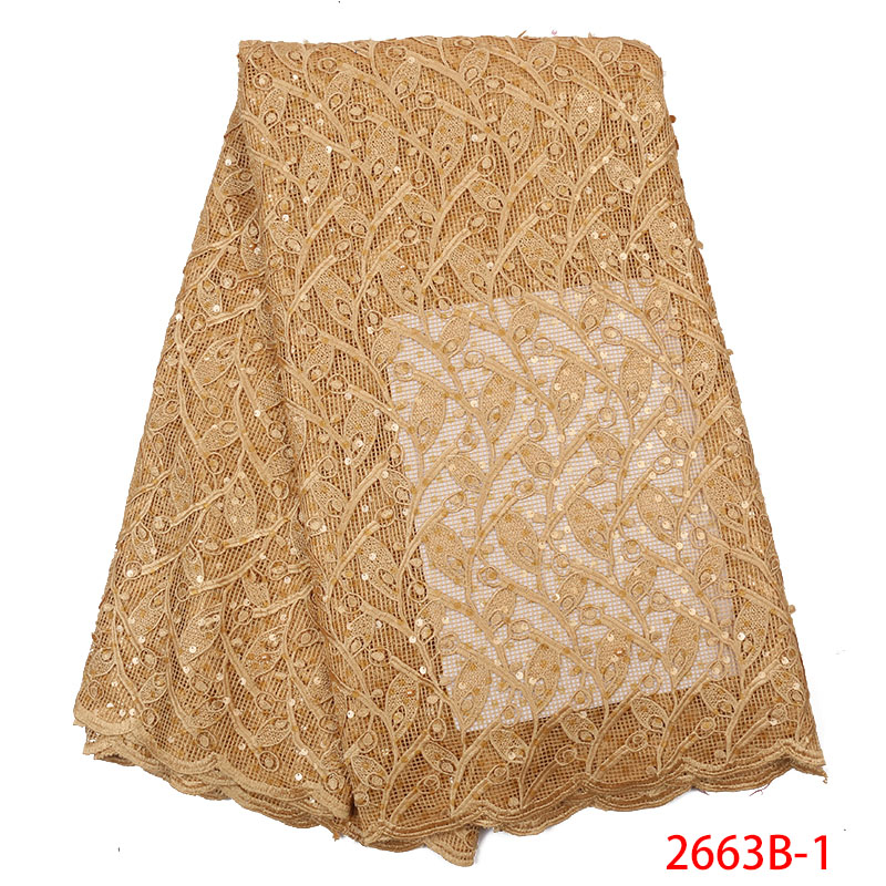 Best Selling African Lace Fabric High Quality Tulle Lace  With Sequins French Embroidery For Wedding Dresses KS2663B-1
