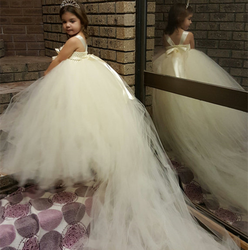 White ivory flower girl dresses long train tail princess for White wedding dresses with long trains