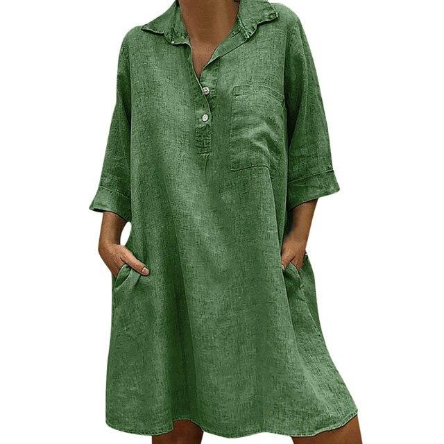JAYCOSIN Casual Dresses For Women 2019 New Dresses Women Three Quarter Sleeve Spring Casual Dress Street Wear Dress Three Color