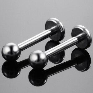 Image 4 - 50 adet/grup G23 Sınıf Titanyum Labret Piercing Morne Dudak Yüzük göbek takısı Piercing Sıcak satış labret Piercing Toptan