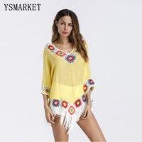 2018 Hot Sexy Beach Dress Women Robe Vintage Crochet Tassel Beach Cover Up Dresses Summer Loose Top F099