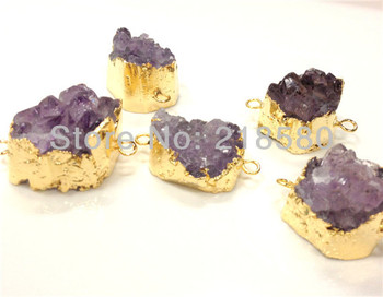 SP-063 10pcs  Amethysts Drusy Cluster Gold Double Bail Pendant Connector Approx.30mm-40mm
