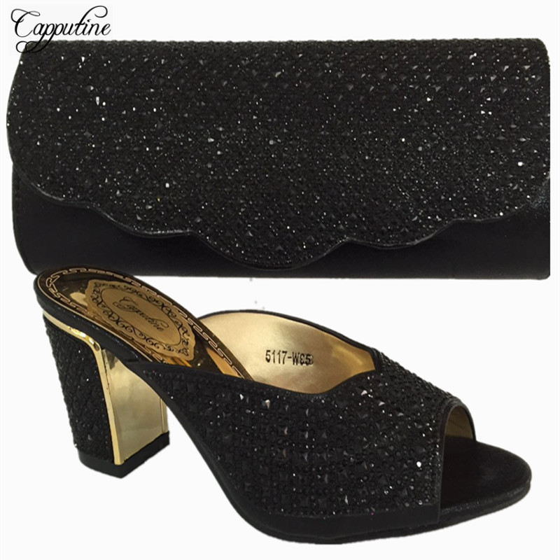 Capputine Italian Style Rhinestone Ladies Shoes And Bag Set Summer High Heels Shoes And Purse Set For Party Size 37-42 BL715 italian berlitz reference set