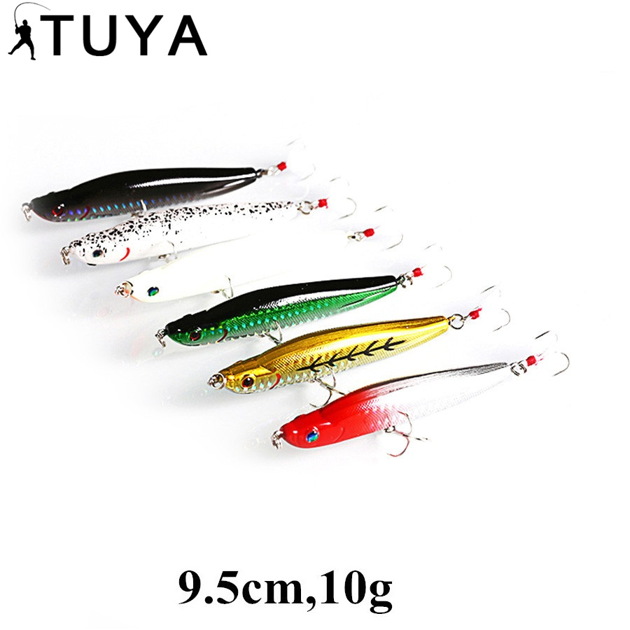 TUYA 6st / set Long Pencil Fishing Lure Minnow Artificiell bete Floating topwater hardlure stickbait Bionic fisk 9,5cm 10g