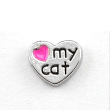 AWFC319 charms galleggianti 10 pz love my cat per medaglione galleggiante(China)