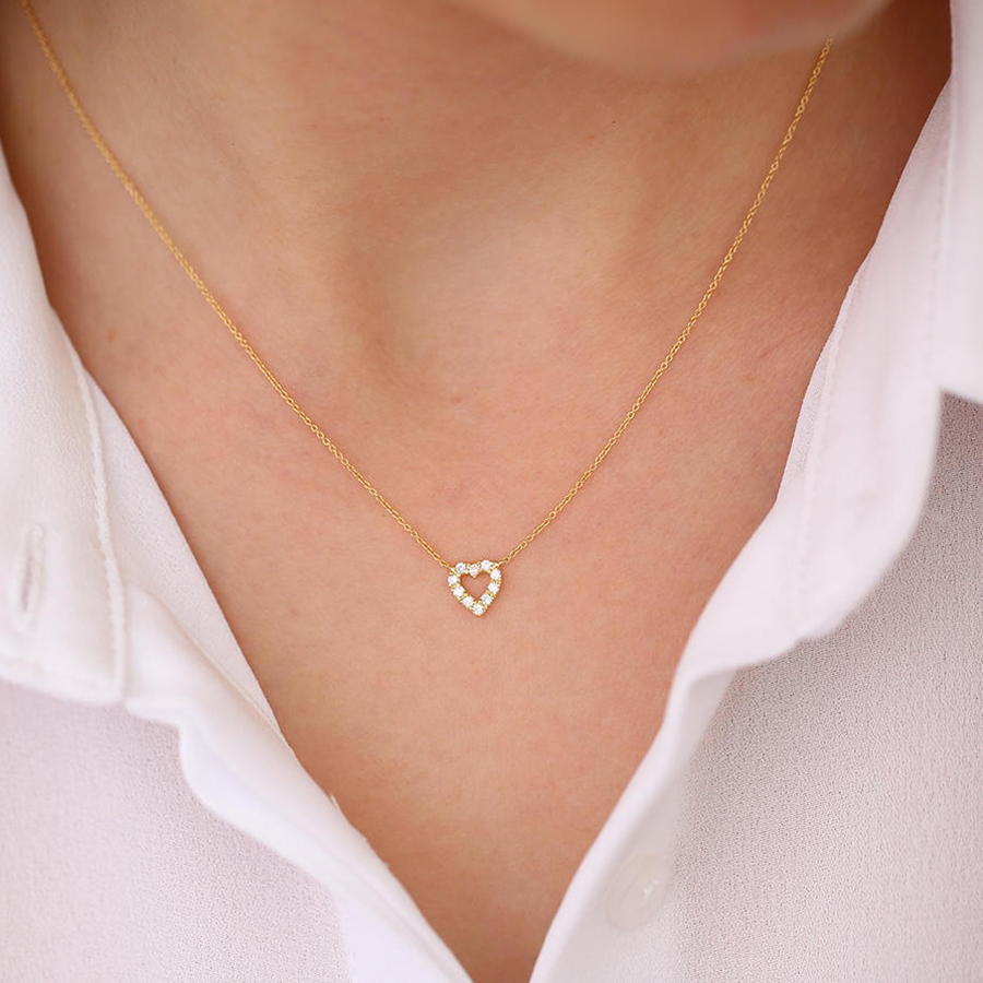 Moissanite 14K Yellow White Gold Heart Pendant With 14K Gold Chain Necklace For Women in Fine Jewelry 18k 750 white gold pendant gh color round lab grown moissanite double heart necklace diamond pendant necklace for women jewelry