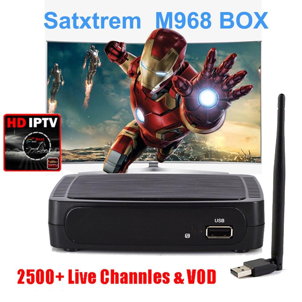 Satxtrem M968 IPTV Box 2GB DDR3 IPTV box Support USB WiFi Europe 2500 Spain IPTV Youtube