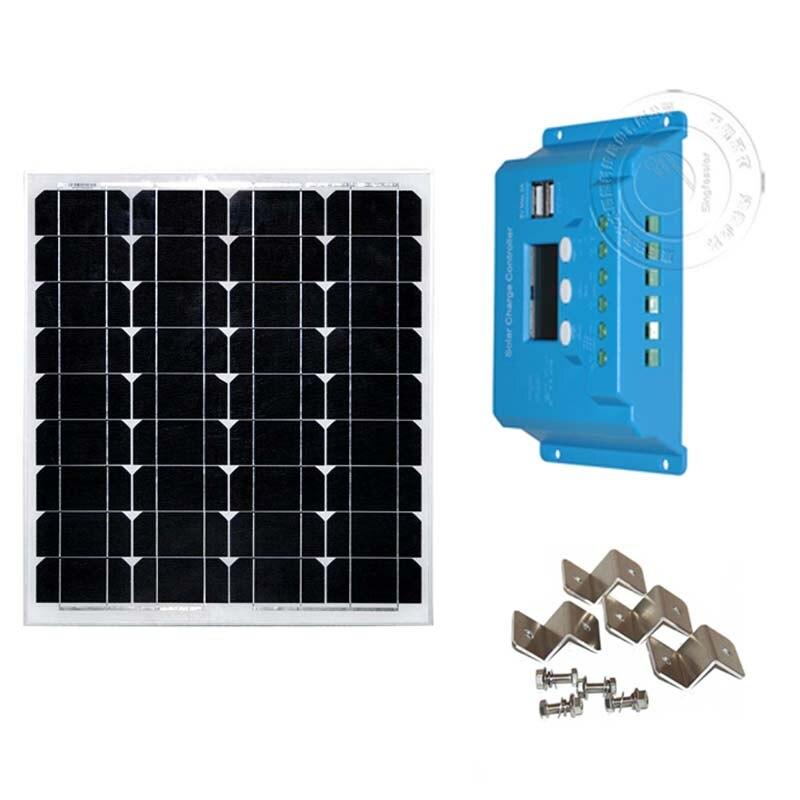 Painel Solar Kit Solar 50w 12v Carregador de Bateria Solar Controlador de Carga Solar 12 v/24 v 10A Z Suporte Motorhome RV Barco de Pesca