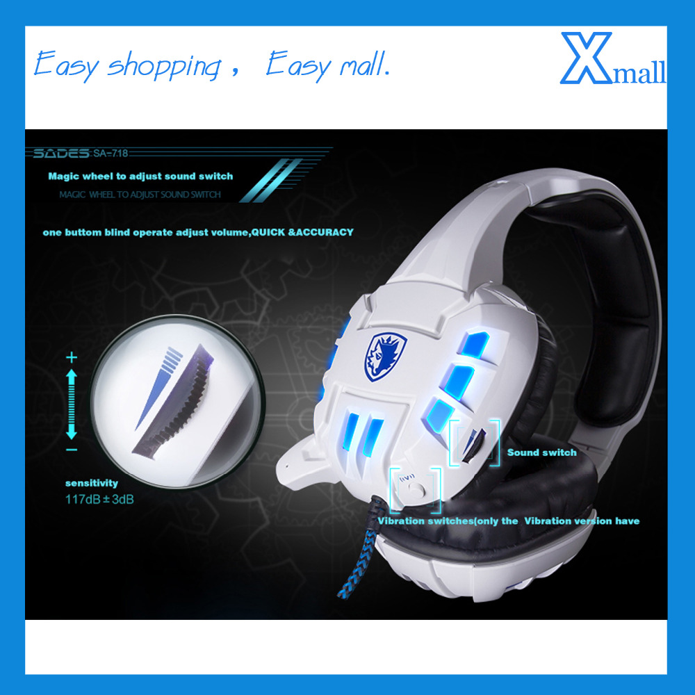 SA-718 PC Computer Gaming Headphones Stereo LED Light Headset with Microphone Vibration System 718