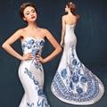 Chinese Dresses Cheongsam Evening Dress Royal Blue White Women's Bra Satin Sexy Qriental dress Qipao Custom Size: 2-26W kaftan