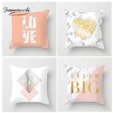 Fuwatacchi Nordic Pink Geometric Cushion Cover Gold Love Heart Letter Pillow Car Home Sofa Decoration Pillowcase