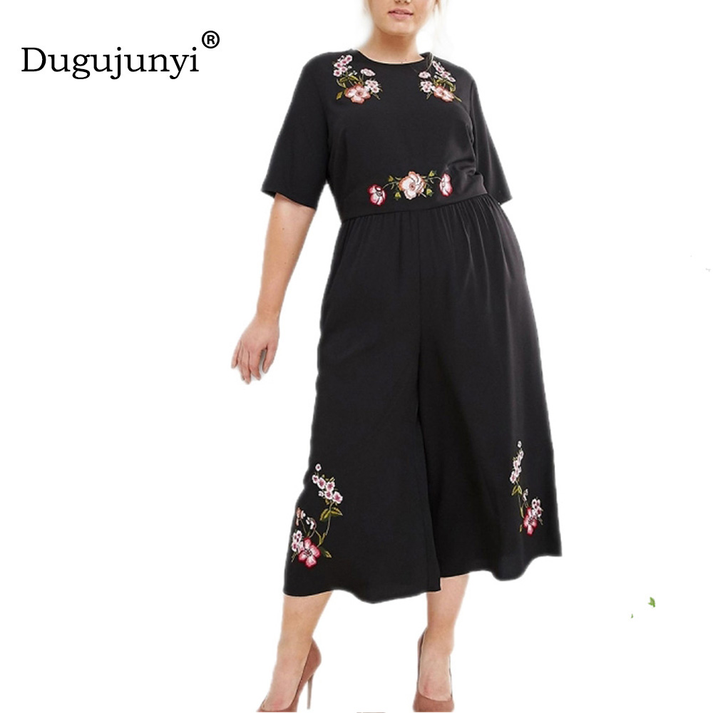 Fat mm Plus Size 2018 New Fashion Ladies jumpsuit Sweet Floral Embroidery Backless Wide Leg Ankle-Length Jumpsuits women