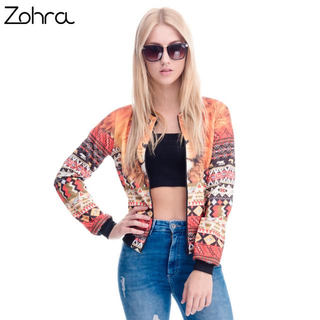 Zohra 2016 novas mulheres da moda jaqueta asteca peru leão impresso manga longa jaquetas curtas casacos outwear jaquetas básicas