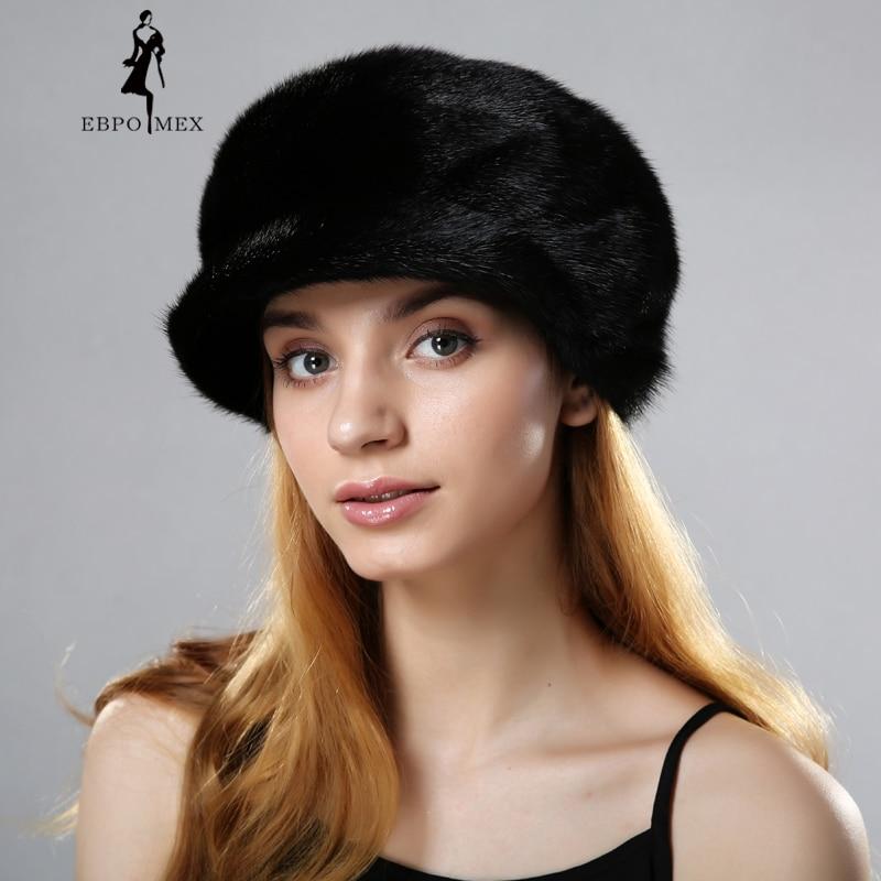 Winter fur hats caps for lady knitted mink rex rabbit fur beanies cap with fur pompom fashion luxury headgear women mink fur hat