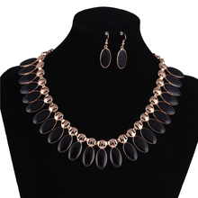 5 Colors New Statement Necklaces Collares Gold Color Black Enamel Maxi Choker Necklaces Earrings Jewelry Sets For Women