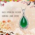 Ataullah Natural Jade Summer Style 925 Sterling Silver Maxi Necklace & Pendants Water Drop Natural Pendants Jewelry NWP018
