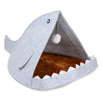 Creative Cute Pet Bed Blue Gray Shark Shape Dog Cage With Hanging Hairball All Season Breathable Cat House Pet Sleeping Supplies