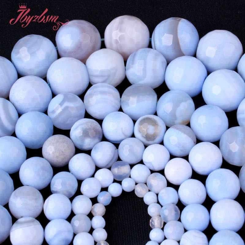 Natürliche Faceted Blau Achate Edelstein Stein Perlen Spacer Strang 15