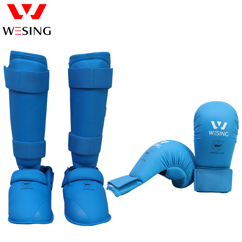 Wesing Karate Boxing Muay Thai Shin Guards Gloves Set Insteps Sparring Martial Arts Training Leg Brace