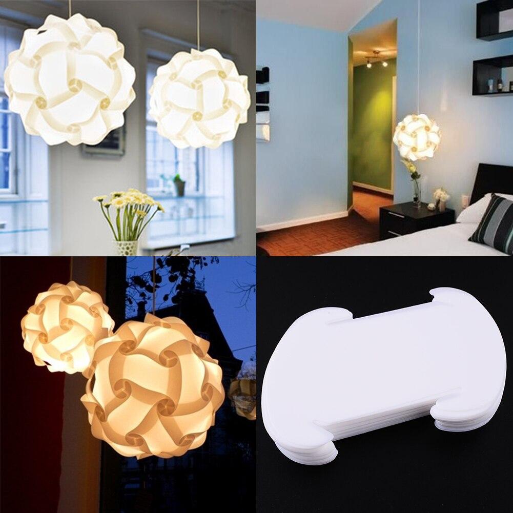 30pcs IQ Puzzle Creative Jigsaw Bar Decor Light Lamp Shade Lampshade Design Size S Decoration White